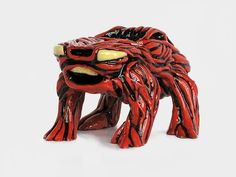 MUSCULAR   Red Meaty Skinless Car  Toy Art From by HandsomePickles