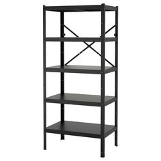 IKEA - BROR, Shelving unit, black, The shelving unit is durable, easy to clean and protected from rust since it is made of powder-coated galvanized steel. Perfect for big heavy items like tools and books. Can be used indoors in damp areas. Ikea Kitchen Shelves, Garage Storage Shelves, Pantry Shelving, Book Shelves, Garage Organization, Pine Shelves, Shelving Units, Pantry Storage, Shoe Storage