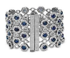 Oval Sapphire and Pavé Diamond Wide Bracelet in 18k White Gold