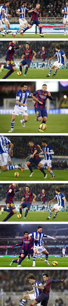 Game action. Real Sociedad 1 - FC Barcelona 0, La Liga week 17, 4 January 2015