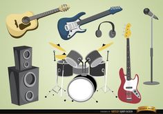 Musical instruments and devices: everything a rock or pop band would need for a concert or rehearsal