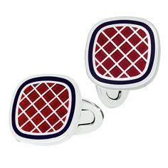 Red with Navy English Enamel Criss Cross Cufflinks