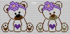 Square Patterns, Cross Stitch, Bear, Quilts, Crocheted Blankets, Baby Cross Stitch Patterns, Cross Stitch For Baby, Disney Cross Stitches, Christmas Embroidery Patterns