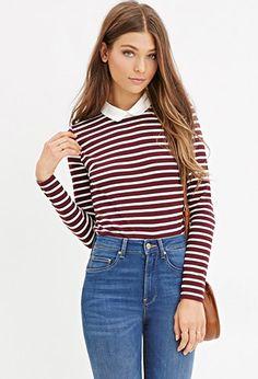 Contrast Collar Striped Shirt
