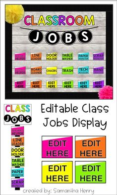 Classroom Jobs (editable) - School Pop Decor Brighten up your classroom with this easy to use, Editable Classroom Jobs Display from . Classroom Jobs Board, Classroom Jobs Display, Classroom Job Chart, Kindergarten Classroom Decor, Classroom Helpers, Classroom Organisation, First Grade Classroom, New Classroom, Google Classroom