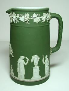 Pitcher, Wedgwood, late 18th century-early 19th century, deep green/white jasperware, 7 1/2 in. Currier Museum of Art.