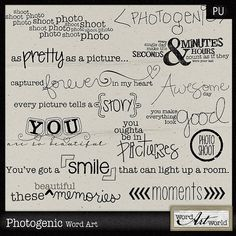 Photogenic Word Art by WordArtWorld on Etsy Scrapbook Quotes, Scrapbook Titles, Digital Scrapbooking Layouts, Scrapbook Stickers, Word Art Fonts, Digital Word, Calligraphy Doodles, Card Sentiments, My Journal