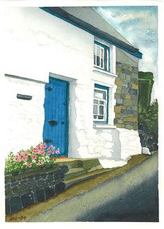 The Porthallow Cottage Acrylic Paintings, Cottage, Watercolor, Drawings, Pastel, Pen And Wash, Watercolor Painting, Watercolour, Cabin