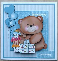 Birthday boy bear card mini kit with decoupage on Craftsuprint designed by Angela Wake - made by linda short -