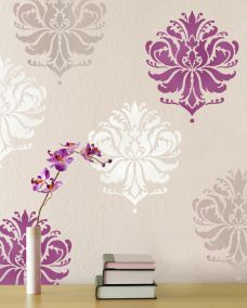 I really like the different colors used on this stenciling. Such a creative way to change up a space.
