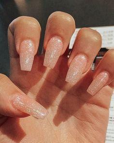 not my pic Acrylic Nails Coffin Short, Simple Acrylic Nails, Best Acrylic Nails, Summer Acrylic Nails, Simple Nails, Sparkly Acrylic Nails, Coffin Nails, Natural Acrylic Nails, Glittery Nails