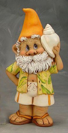 Snerdley Beach Gnome - Cute Paintable Ceramic Bisque Figurine