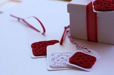 Quick Crochet Gift Tags easy to whip up to sell at farmers market around Christmas.