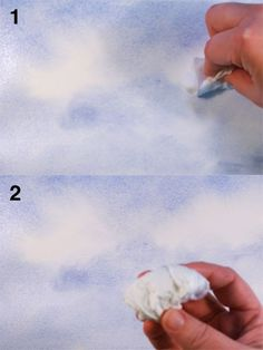 Fluffy White Clouds When creating clouds in watercolor painting, one does not use white paint. You need to save the white of the paper to c...