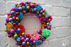 Kleurrijke kerstkrans - colourful christmas whreath