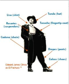 In the the popular look for men was the zoot suit. This look included an extremely long watch chain, wide trousers with a tapered ankle, padded shoulders, and a long jacket with wide lapels. Trajes Zoot, Zoot Suit Wedding, Edward James, Estilo Cholo, Zoot Suits, Chola Style, Lowrider Art, Brown Pride, Chicano Art