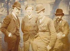 Impressionisme:V.l.n.r.: Willem Witsen, Willem Kloos, Hein Boeken en Maurits van der Valk, leden van de impressionistische Tachtigers-groepering.