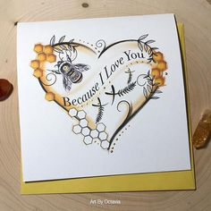 Your place to buy and sell all things handmade - Because I Love You card Perfect for bee lovers Inside Options Blank You Bee my Honeysuckle & - Bee Quotes, I Love Bees, Love Birthday Cards, Birthday Gifts, Bee Gifts, Bee Cards, Because I Love You, Bee Happy, Bees Knees