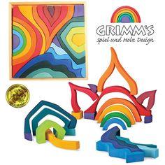 Grimm's Large 4 FOUR ELEMENTS BUILDING SET Wooden Blocks/ Big Waldorf Puzzle Toy