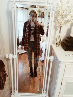 Ootd // Topshop boyfriend jeans (with tights underneath), Brandy Melville tshirt, Gap plaid jacket, heeled combat boots, Madewell scarf ❤️ stay warm bbs!