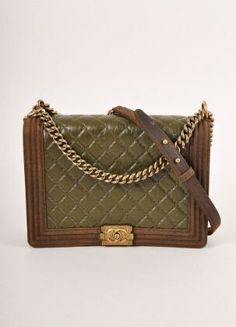 51d52b8ae2ed Green and Brown Quilted Leather Chain Strap Flap Large