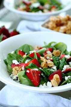 Strawberry, Goat Cheese, and Spinach Salad with Almond Brittle - note to self: try substituting with feta