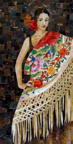 """Spanish Flue"" Mosaic ~ by Art Monument - Such great expression achieved using larger tile pieces."