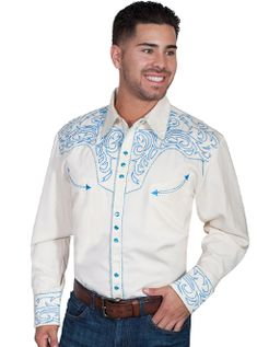 ca956f22 This mens Scully Electric Blue Embroidered White Western Shirt is a show  stopper. This retro. Scully ShirtsWestern ShirtsWestern WearCowboys ...