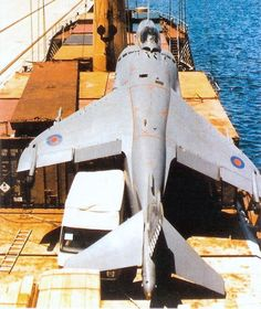 This Sea Harrier was recovered in extremis. Pilot lost the Nav equipment and radio, got lost and landed on a small Spanish container ship. This aircraft is now preserved at Newark Air Museum. Military Jets, Military Aircraft, Military Weapons, Fighter Aircraft, Fighter Jets, Air Fighter, Royal Navy Aircraft Carriers, Falklands War, Abandoned Ships