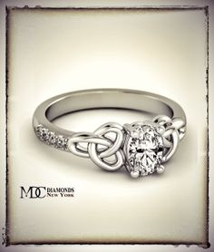Oval Celtic Knot Engagement Ring in 14K White Gold Diamond Band