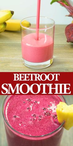 Red Beet Smoothie – A delicious and healthy smoothie made with bananas, beets, pineapple, and yogurt. Perfect for breakfast, or as an afternoon treat. Smoothie Drinks, Healthy Smoothies, Diet Drinks, Smoothie Bowl, Smoothies Coffee, Healthy Drinks For Kids, Banana Smoothies, Lunch Smoothie, Homemade Smoothies