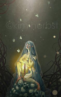 Hela of Helheim  Norse Goddess of Death  PRINT by kiwifruitbird, $10.00