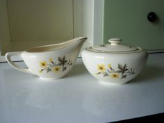 Vintage Ceramic Sugar Bowl & Creamer Yellow by IcicleGarden