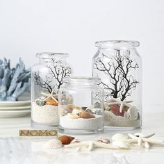 Nautical Style Glass Table Decoration from Apollo Box Stefania Falzone stefania_falzone Educazione montessori Bring the beach home with these nautical glass jars. Perfect for your shelf, desktop or table top décor, each design showcases a colorful co Seashell Crafts, Beach Crafts, Decoration Table, Vases Decor, Beach Table Decorations, Glass Table, Glass Jars, Nautical Fashion, Nautical Style