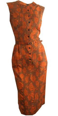 Burnt Orange and Cocoa Batik Print Summer Dress circa 1960s - Dorothea's Closet Vintage