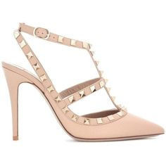Valentino Valentino Garavani Rockstud Leather Pumps (£730) ❤ liked on Polyvore featuring shoes, pumps, обувь, valentino pumps, genuine leather shoes, leather footwear, leather shoes and beige pumps
