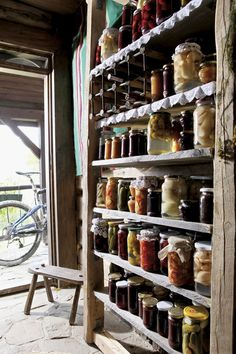I grew up on a farm and we had 3 gardens. We canned all kinds of veggies and fruits and we stored them in our cellar on shelves very similar to this. We ate about as organic as any person could. This pic certainly brings back memories : )