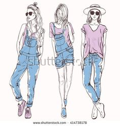 Vector set with trendy girls. Elegant, stylized fashion models illustration