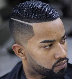 Black Men Haircuts - Taper and Hard Part with Wave Cut - Best Haircuts For Black Men: Cool Black Men's Hairstyles, Fade Haircut Styles For Black Guys Black Men Haircuts, Black Men Hairstyles, Undercut Hairstyles, Boy Hairstyles, Cool Haircuts, Straight Hairstyles, Fresh Haircuts, Men's Haircuts, Holiday Hairstyles