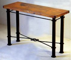 Copper Console Table with Knotted Base