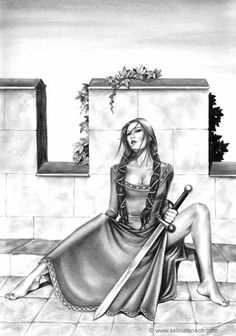 Selina Fenech: Tomboy - Fantasy Myth Mythical Mystical Legend Elf Elves Sword Sorcery Magic Witch Wizard Coloring pages colouring adult detailed advanced printable Kleuren voor volwassenen coloriage pour adulte anti-stress kleurplaat voor volwassenen Line Art Black and White