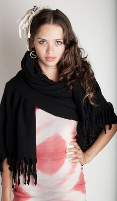 Black shawl wool felted with fringes and tassels $130.00