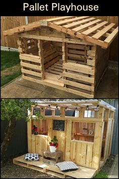 Build the Kids a Pallet Playhouse! Do your kids want a playhouse? Make one using reclaimed pallets! The post Build the Kids a Pallet Playhouse! appeared first on DIY Crafts. Backyard For Kids, Backyard Projects, Diy Pallet Projects, Play House Outdoor Kids, Kids Play Yard, Kids Backyard Playground, Outdoor Play, Wood Projects, Pallet Playhouse