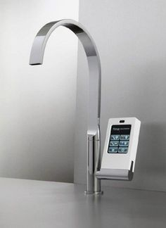 Hi-Tech Kitchen Faucet With Touch-Screen Controller -- Because turning a handle is so 'four score and seven years ago!""