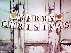 MERRY Christmas Banners - Merry Christmas Signs - Rustic chic - Barn Christmas