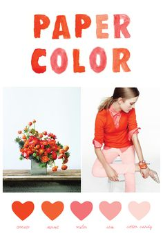 Vibrant, saturated shades of bold tomato red and deep orange paired with soft and lady-like shades of melon and pink? I am loving this color palette for a festive summer wedding or a really colorful birthday party. Or a bright, neutral bedroom infused with touches of pink and tomato. Love.