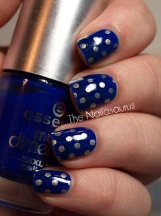 Beautiful Blue Nails with Silver Polka Dots
