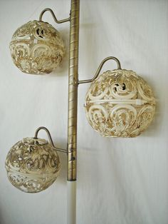 Mid Century Tension Pole Lamp Filigree Globe Hollywood Regency Moorish