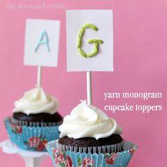 Yarn Monogram Cupcake Toppers