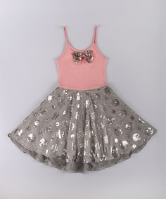 Mia Belle Baby Pink & Gray Floral Lace Dress - Toddler & Girls | zulily